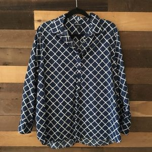 Lands End Navy button up blouse